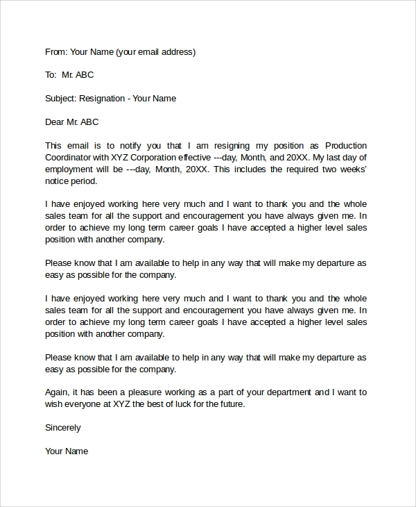 Attractive Resign Letter Email