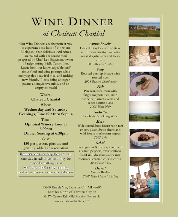 7 sample dinner menus sample templates for Wine dinner menu template