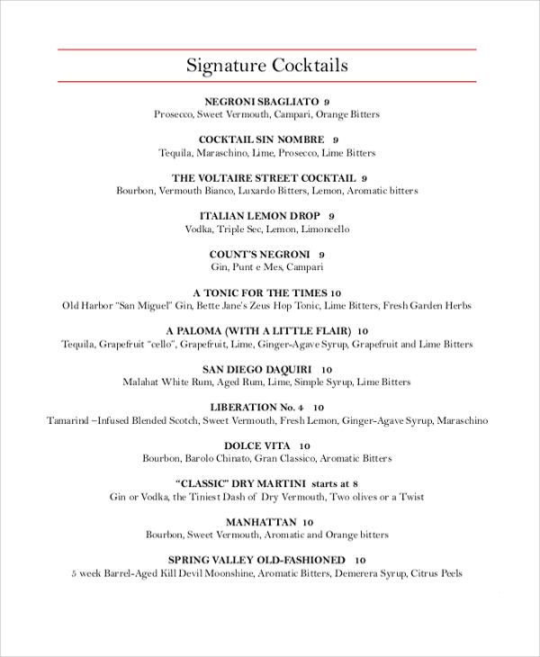 summer dinner menu