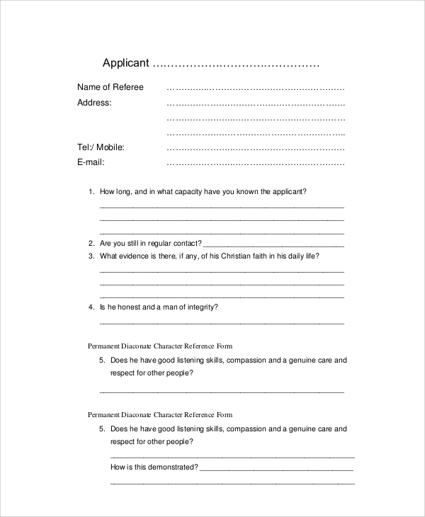 sample personal reference letter