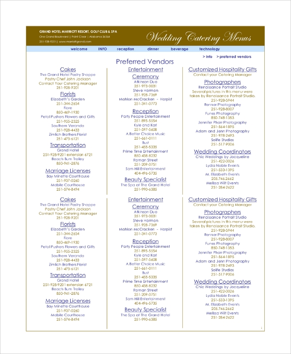 Sample Wedding Menu - 6+ Documents in PDF, Word