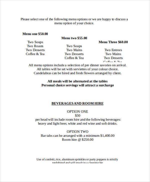wedding beverage menu