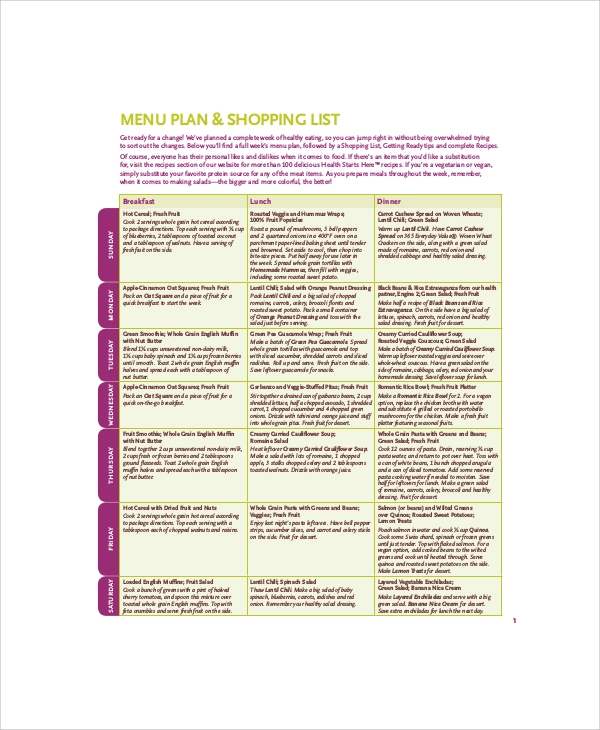 Sample Food Menu - 7+ Documents In Pdf, Word