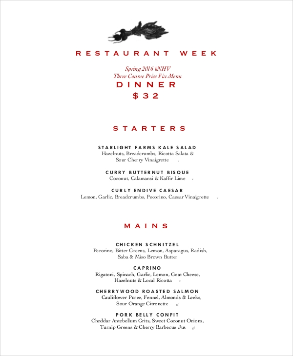 weekly dinner menu sample
