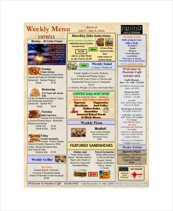 cafe weekly menu