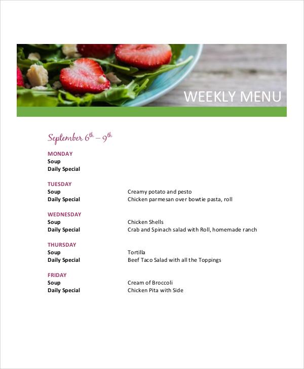 free weekly menu
