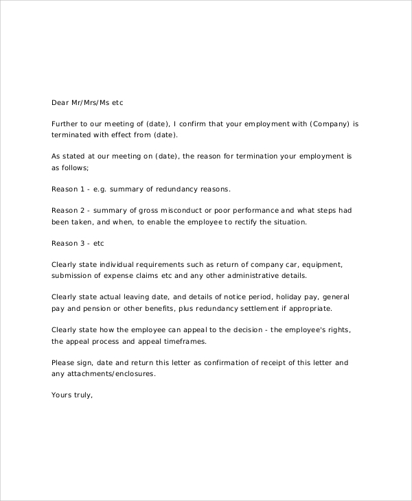 employee job termination letter - Sample Termination Letter Without Cause