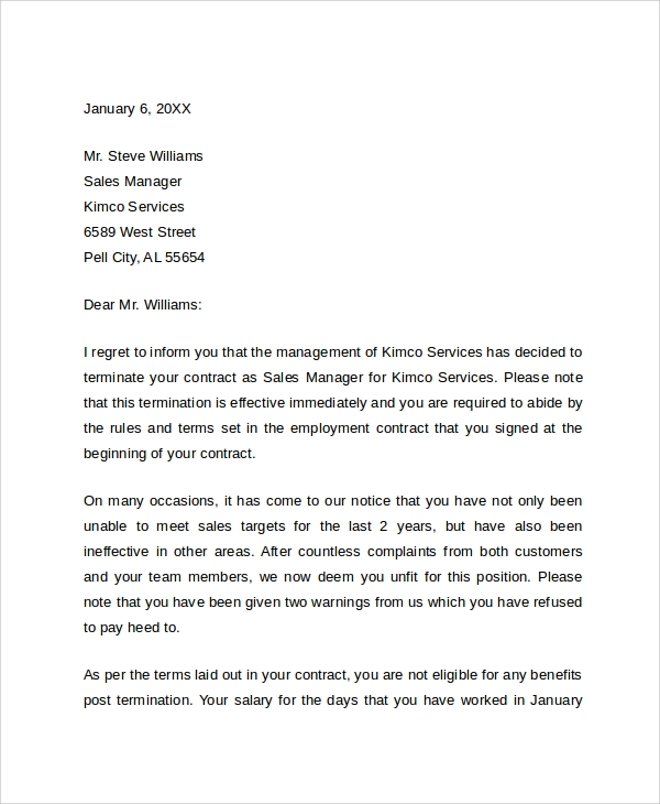 sample job termination letter