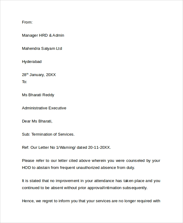 job termination letter sample