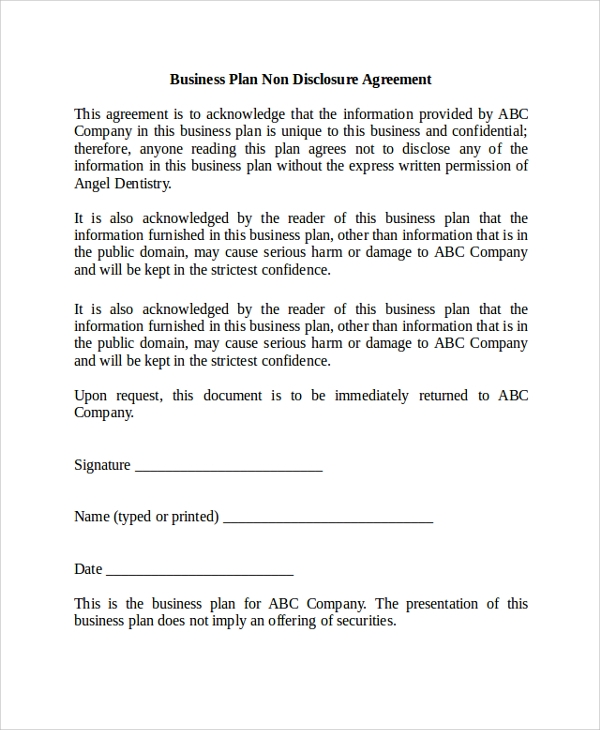Sample Non Disclosure Agreement Basic Personal NonDisclosure – Non Disclosure Agreement Word Document