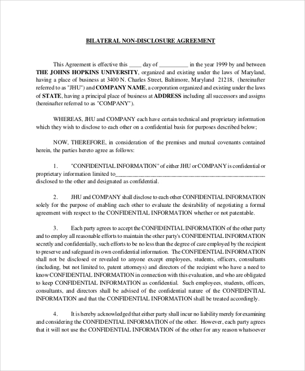Sample Non Disclosure Agreement   Documents In Pdf Word