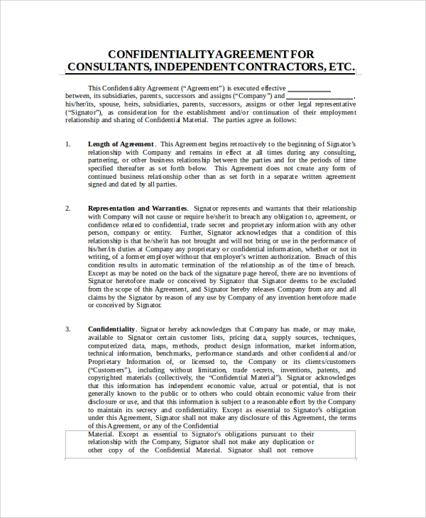 Contractor Confidentiality Agreement Contractor Confidentiality