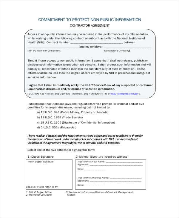 contractor non disclosure agreement
