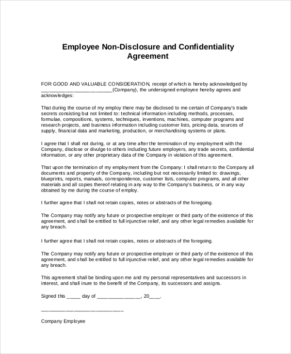 Financial Confidentiality Agreement Best 25 Non Disclosure – Non Disclosure Agreement Word Document