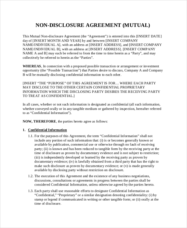 Sample Non Disclosure Agreement - 19+ Documents In Pdf, Word