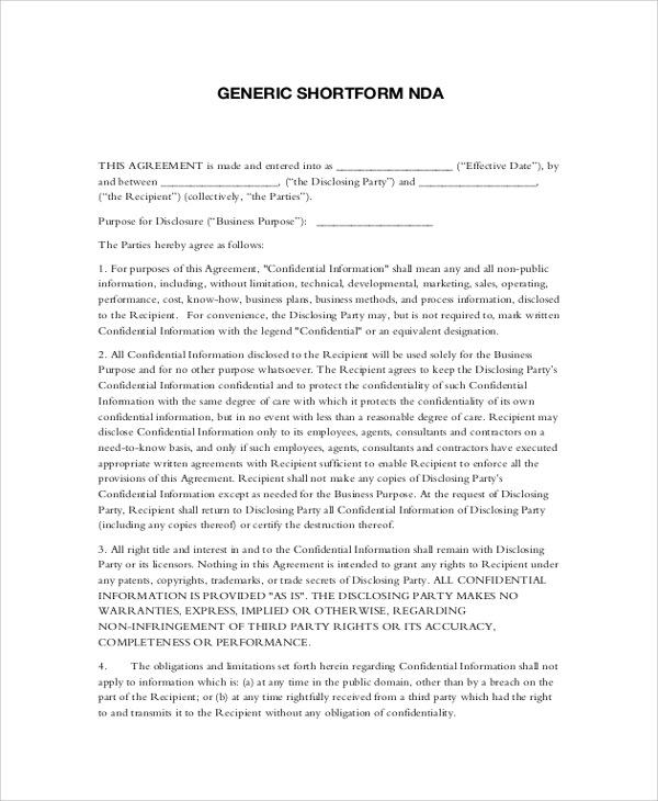 Sample non disclosure agreement 19 documents in pdf word for Short non disclosure agreement template