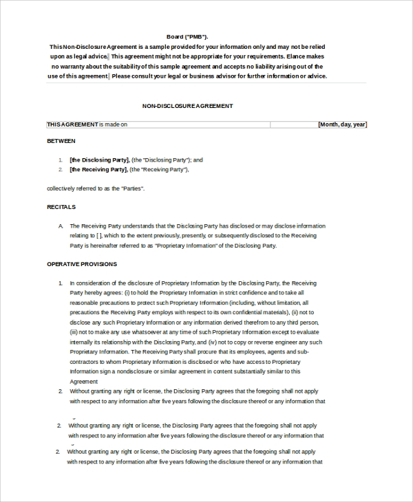 Sample Non Disclosure Agreement 19 Documents in PDF Word – Sample Non Disclosure Agreement