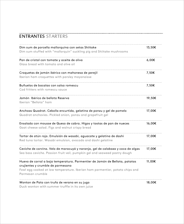 Sample Restaurant Menu   Documents In Pdf Word