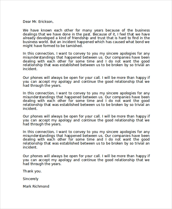 8+ Sample Formal Apology Letters | Sample Templates