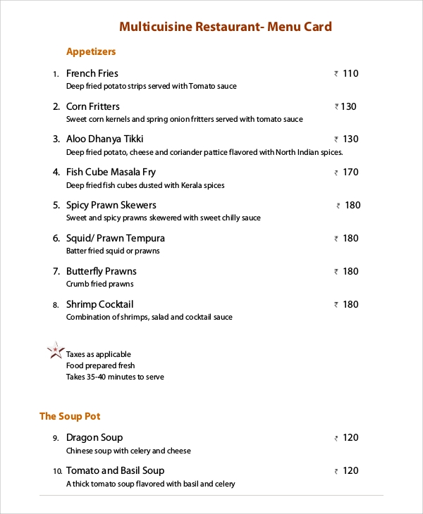 restaurant menu card sample