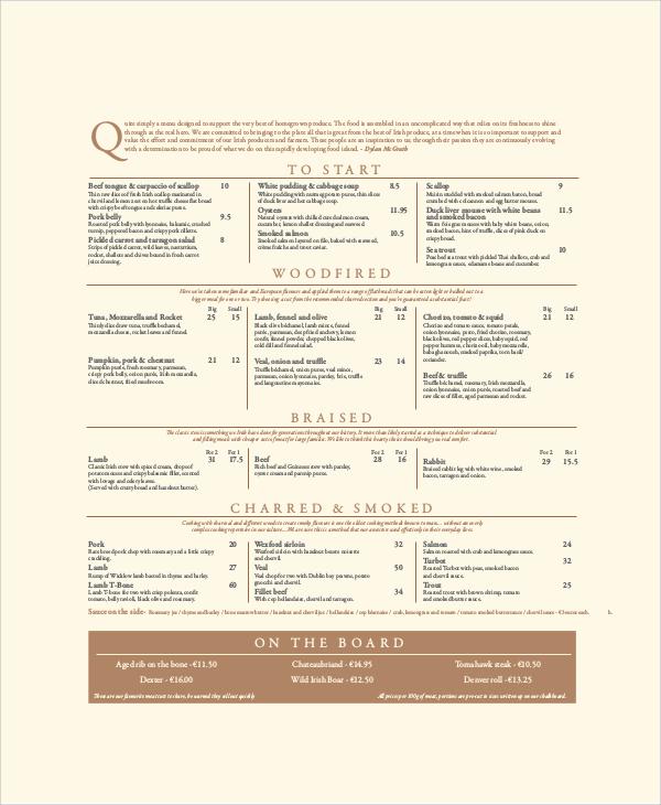 restaurant menu sample