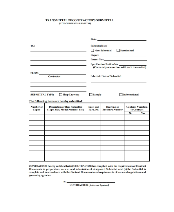 Sample Submittal Transmittal Form   Documents In Pdf Word