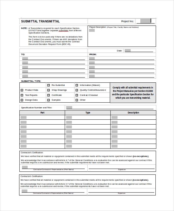 Sample Submittal Transmittal Form 7 Documents in PDF Word – Submittal Transmittal Form