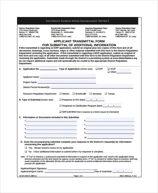 ... Submittal Transmittal Form