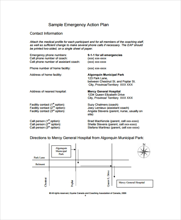 free 6 sample emergency action plan template employee business pdf