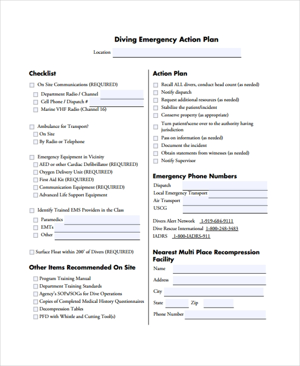 Sample Emergency Action Plan   Documents In Pdf Word