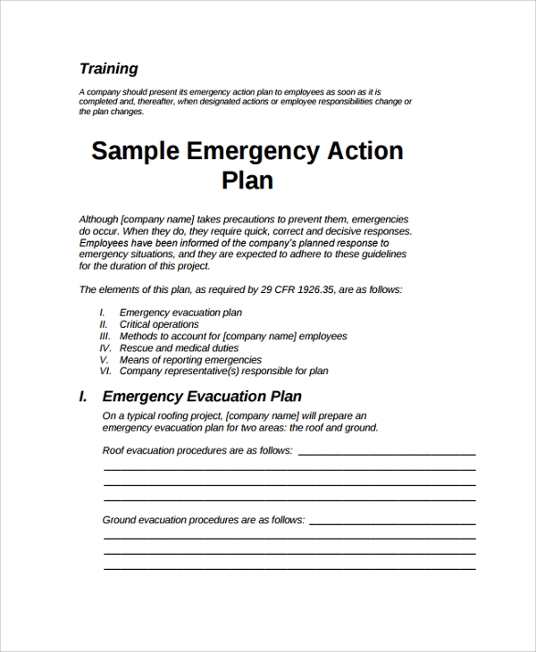 Sample Emergency Action Plan 7 Documents in PDF Word – Emergency Action Plan Sample