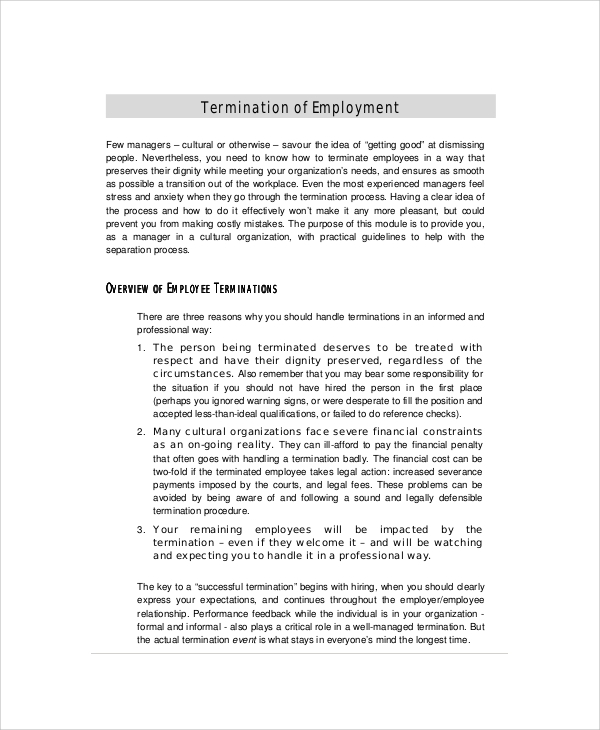 Employee Termination Recommendation Letter  Letter Of Termination Of Employment Template