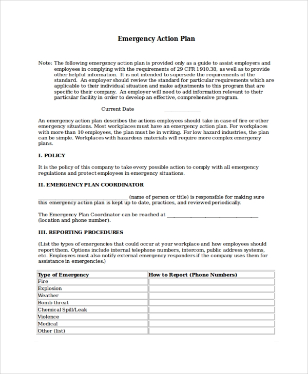 Sample Emergency Action Plan 7 Documents in PDF Word – Emergency Action Plan