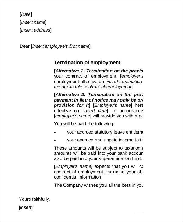 13  employee termination letter samples  u0026 templates