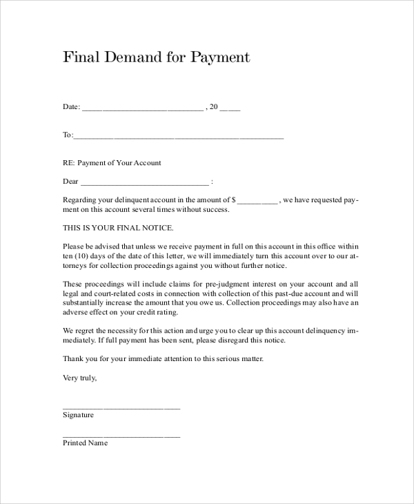 Sample Final Notice Letter   Documents In Pdf Word