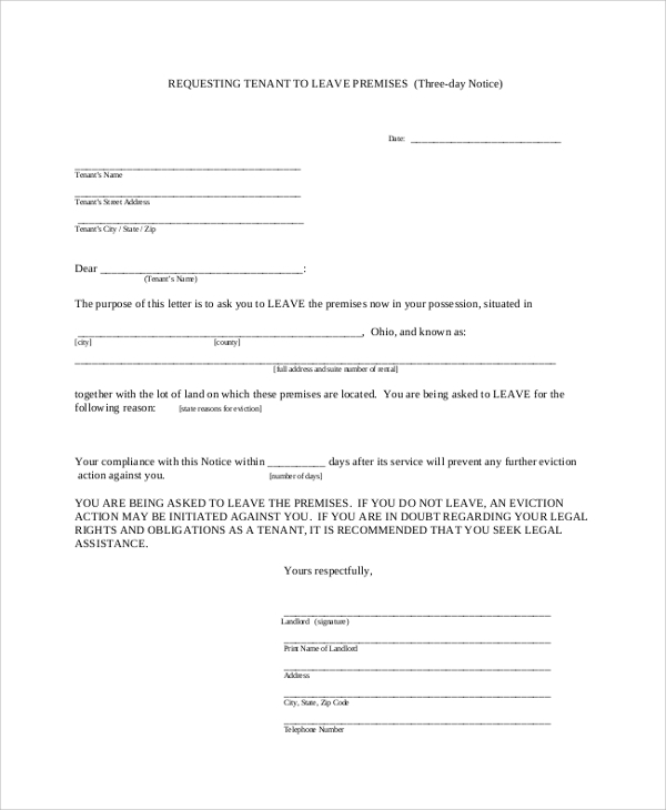 tenant to leave final notice letter