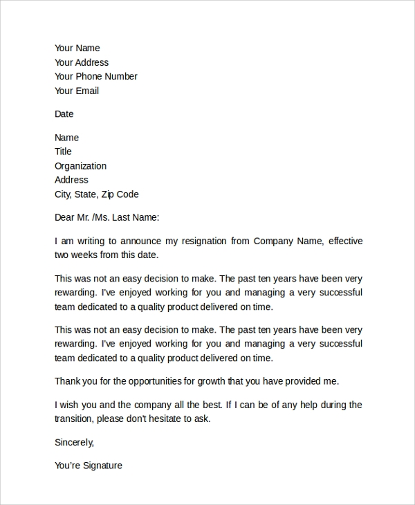 employee 2 week notice letter
