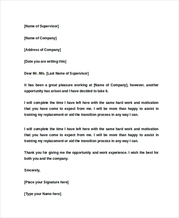 Sample  Week Notice Letter   Documents In Word