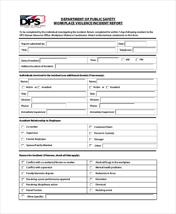 Sample Incident Report Form 6 Documents in PDF Word – Sample Incident Report Form