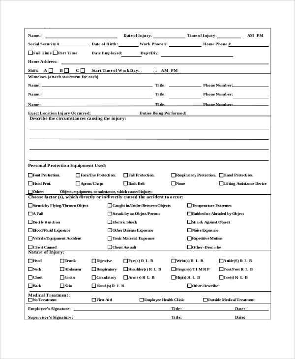 Employee Incident Report Form  Injury Incident Report Template