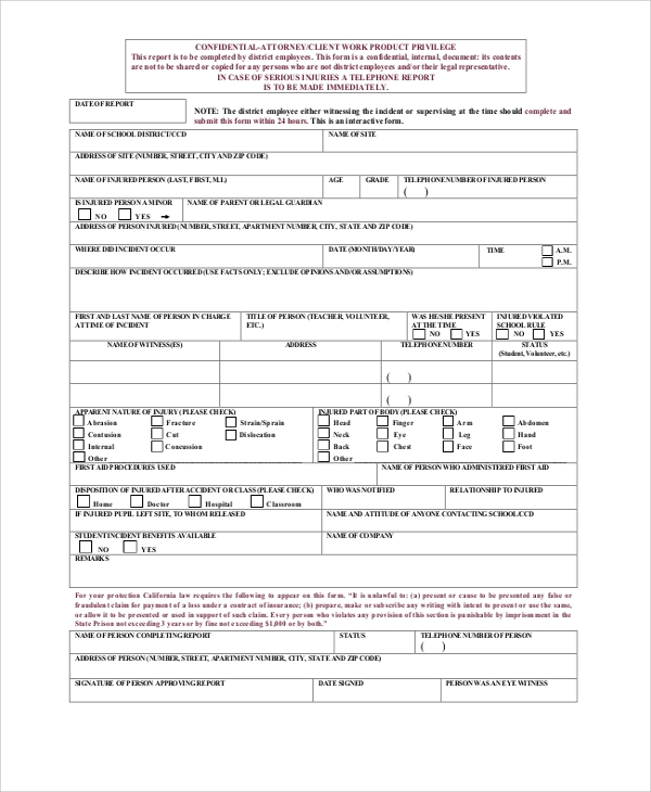 school incident report form