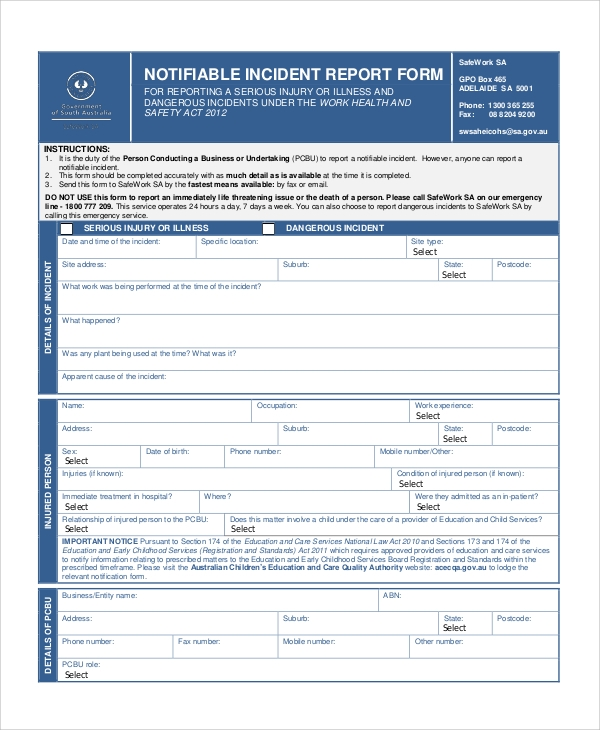 notifiable incident report form