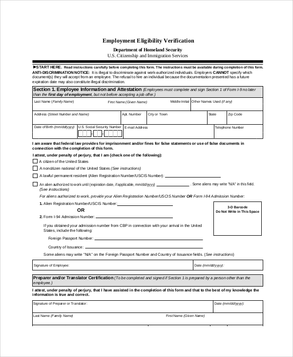 Employment Eligibility Verification Form  Prior Employment Verification Form