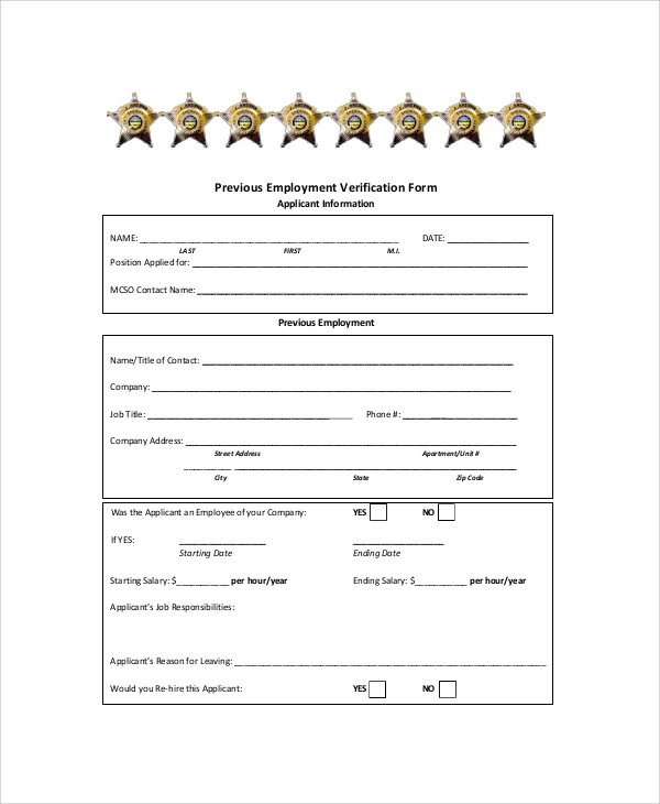Sample Employment Verification Form   Documents In Pdf