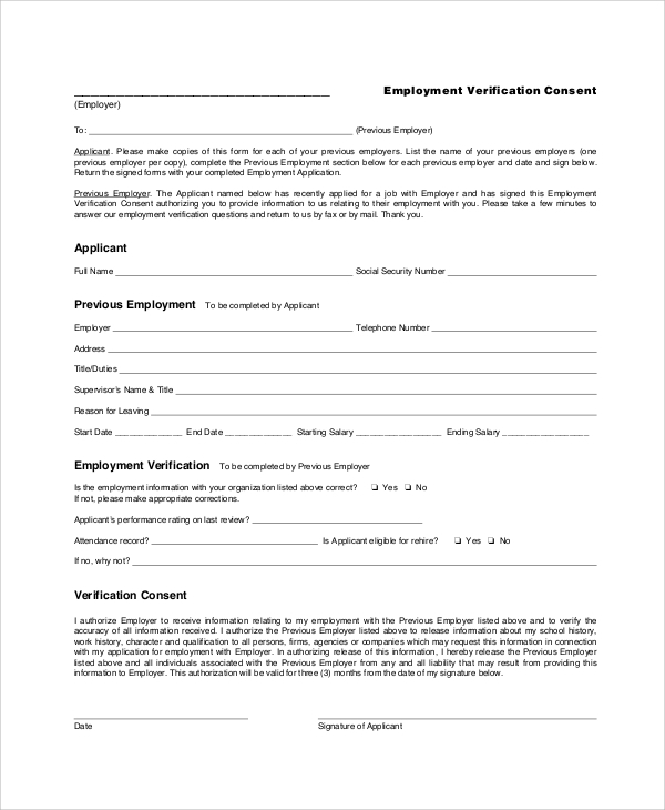Sample Employment Verification Form 6 Documents in PDF – Sample Employment Verification Form