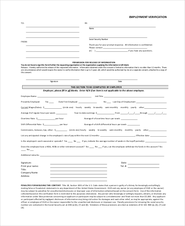Sample Employment Verification Form - 6+ Documents In Pdf