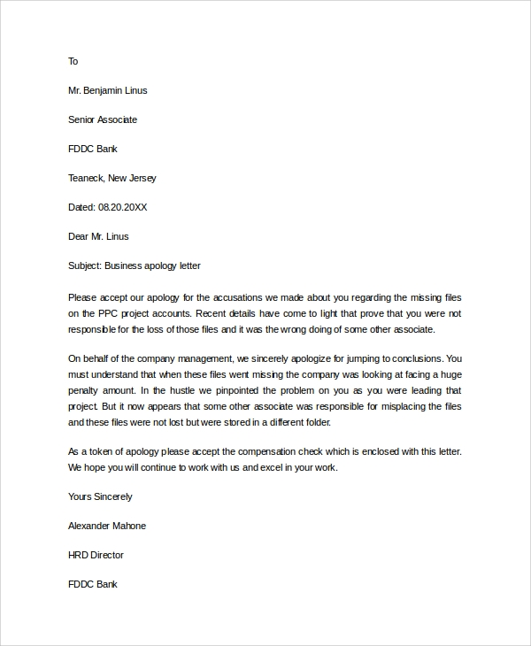 Sample Business Apology Letter 7 Documents in PDF Word