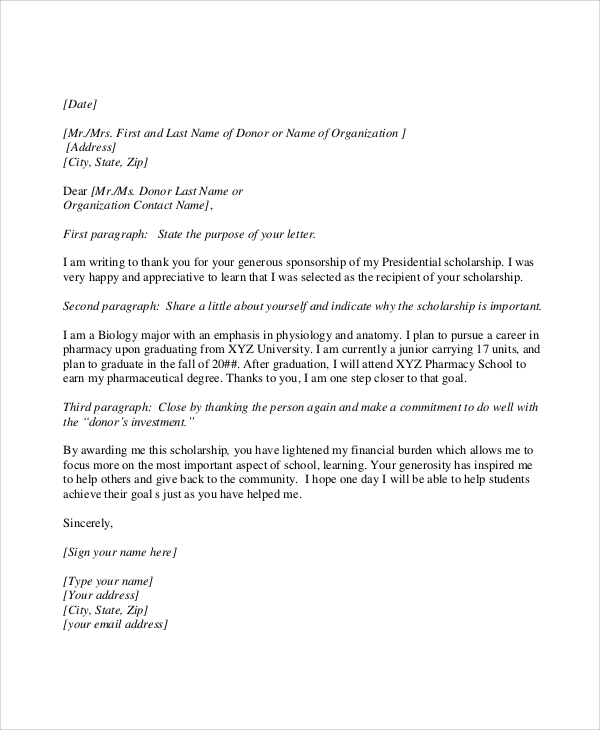 Sample Scholarship Thank You Letter - 7+ Documents In Pdf, Word