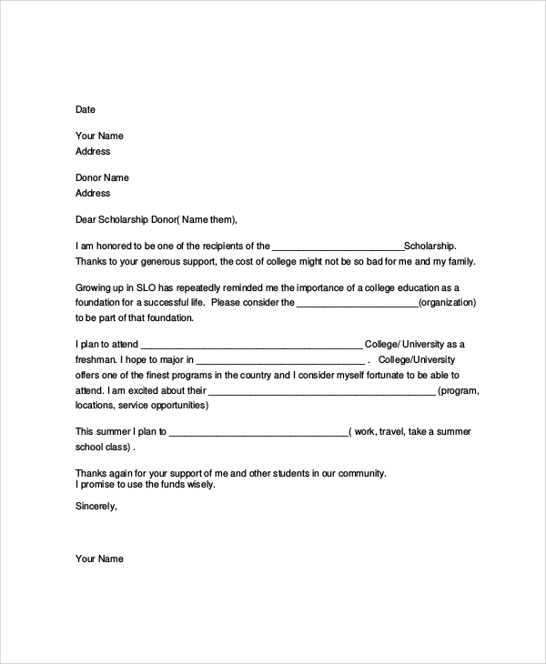 7 scholarship thank you letter samples examples for Grant thank you letter template