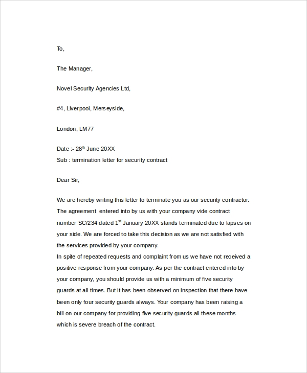 Termination Contract Letter Independent Contractor independent – Terminate Contract Letter Template